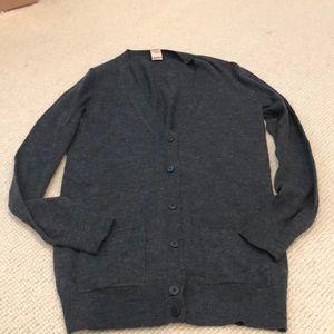 J crew long dark grey merino wool cardigan  XS